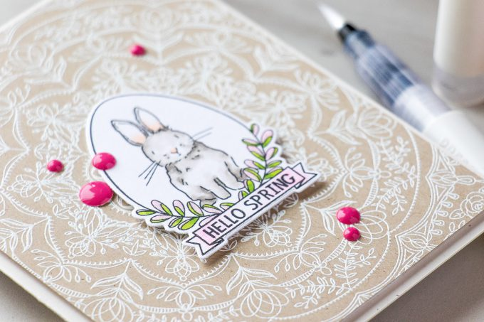 Simon Says Stamp | Hello Spring Bunny card by Yana Smakula using Spring Seeds SSS101700 and Rebecca Lace SSS101741 stamps from Simon Says Stamp. #stamping #adultcoloring #springcard #bunnycard
