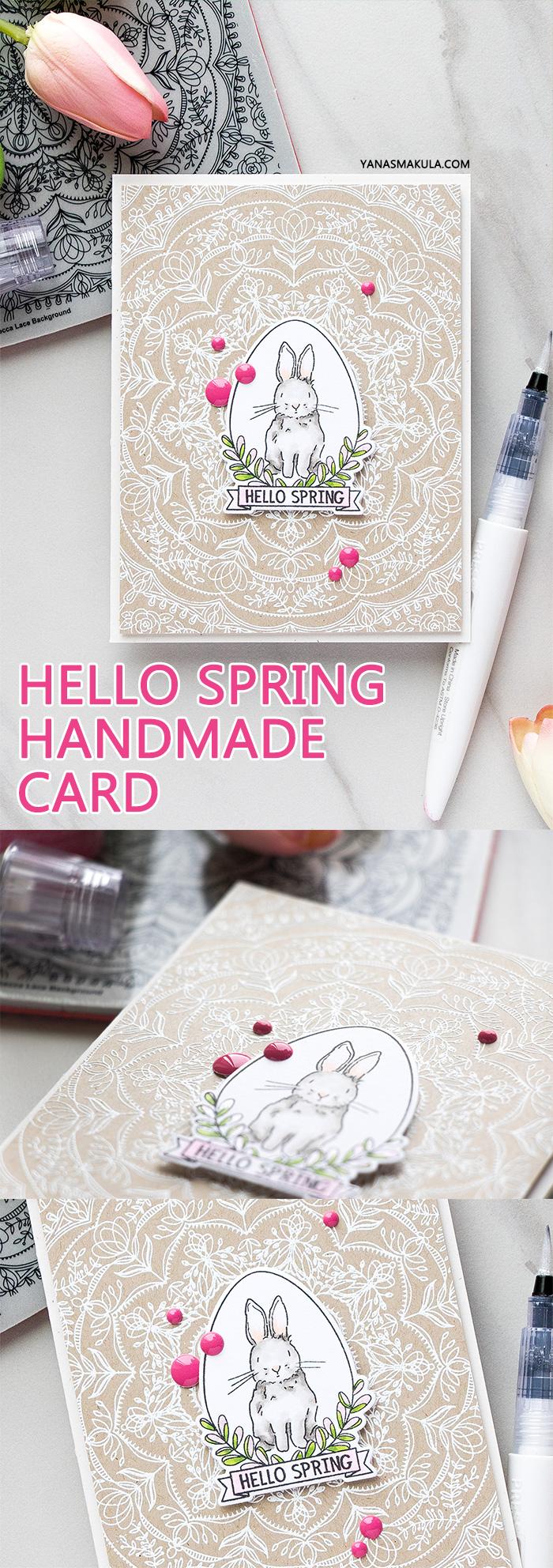 Simon Says Stamp | Hello Spring Bunny card by Yana Smakula using Spring Seeds SSS101700 and Rebecca Lace SSS101741 stamps from Simon Says Stamp. #stamping #adultcoloring #springcard #bunnycard