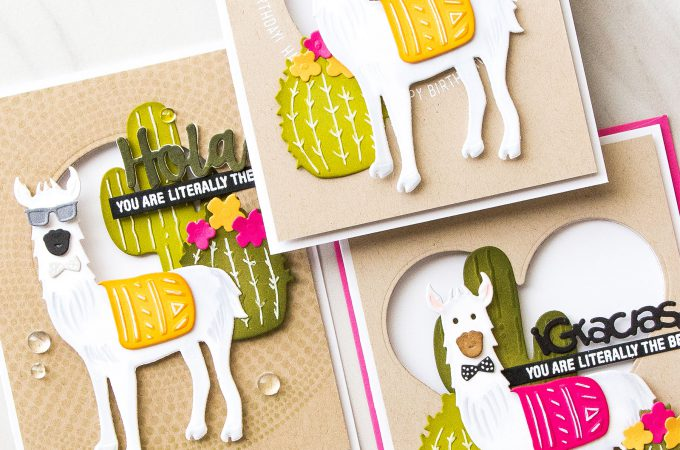Spellbinders | Hola Llama Cards by Yana Smakula using Die D-Lites Hip Llama Etched Dies S3-319. Video tutorial #cardmaking #llamacard #hipllama #diecutting #handmadecard #neverstopmaking