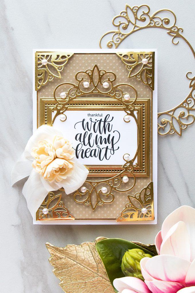 Spellbinders | Thankful With All My Heart Layered Card using Elegant 3D Vignettes collection dies by Becca Feeken #spellbinders #diecutting #handmadecard #neverstopmaking