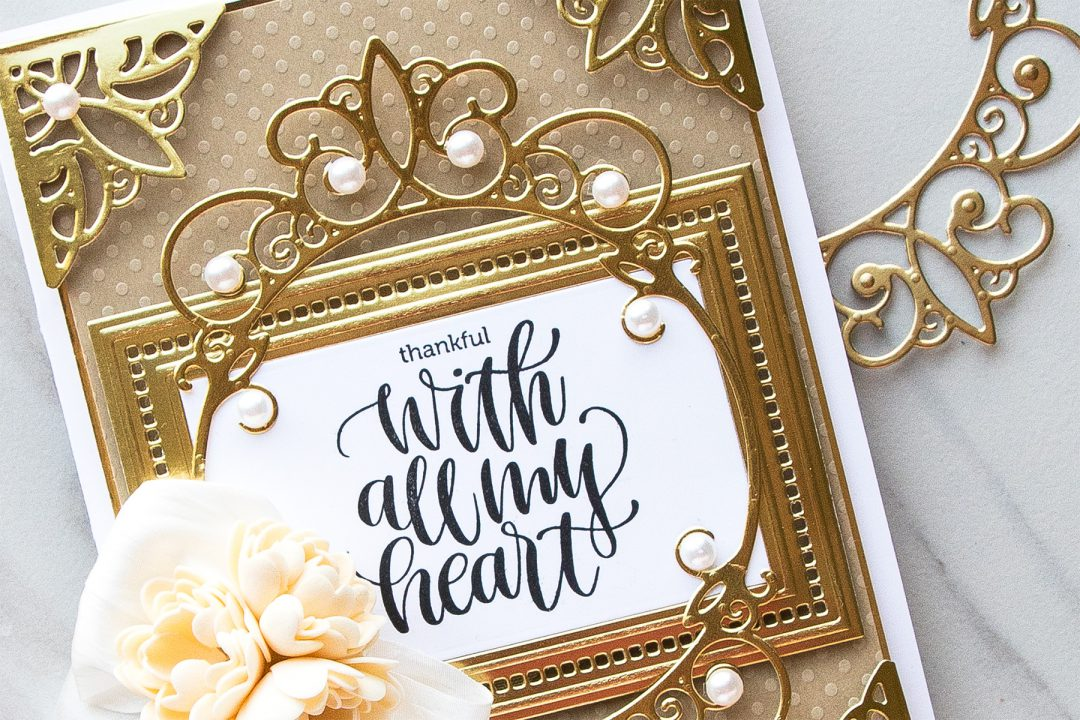 Spellbinders | Thankful With All My Heart Layered Card using Elegant 3D Vignettes collection dies by Becca Feeken #spellbinders #diecutting #handmadecard #neverstopmaking