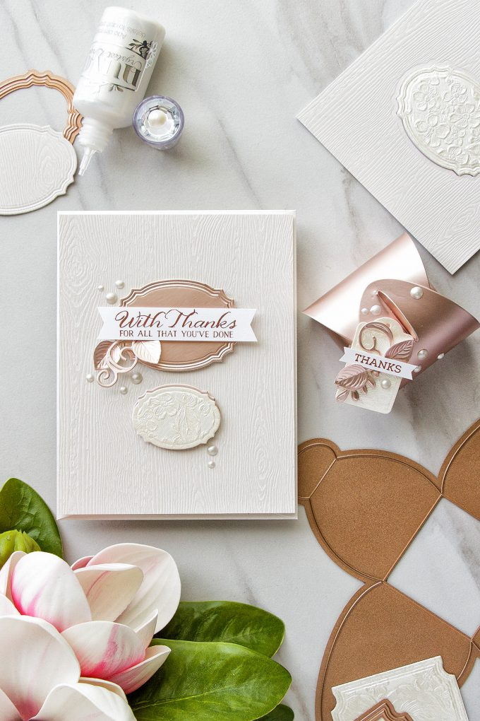 Spellbinders | Thank You Gift Card & Box with Small & Large Die Of The Month Kits. Video by Yana Smakula #cardmaking #spellbindersClubKits #spellbinders