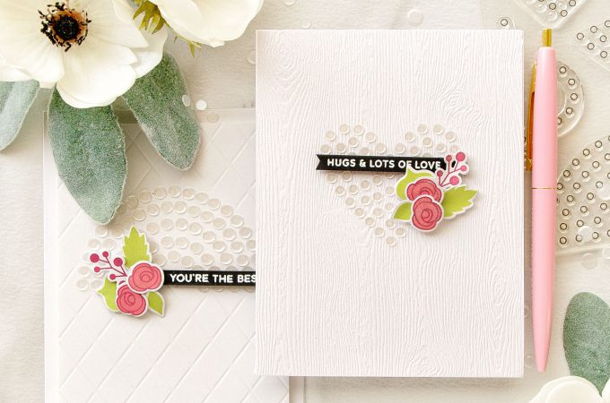 Pretty Pink Posh | White Confetti Shapes on White with Sparkle Pattern Dot 1 Stamps. Video
