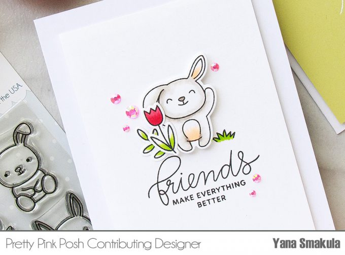 Pretty Pink Posh | Colorful Spring Card Ideas by Yana Smakula using Bunny Friends stamp set. Video #cardmaking #easter #stamping #handmadecard