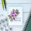PRetty Pink Posh   Cherry Blossoms & Polychromos Pencils. Video + Blog Hop + Giveaway Handmade card by Yana Smakula #cardmaking #pencilcoloring #polychromos #adultcoloring #prettypinkposh