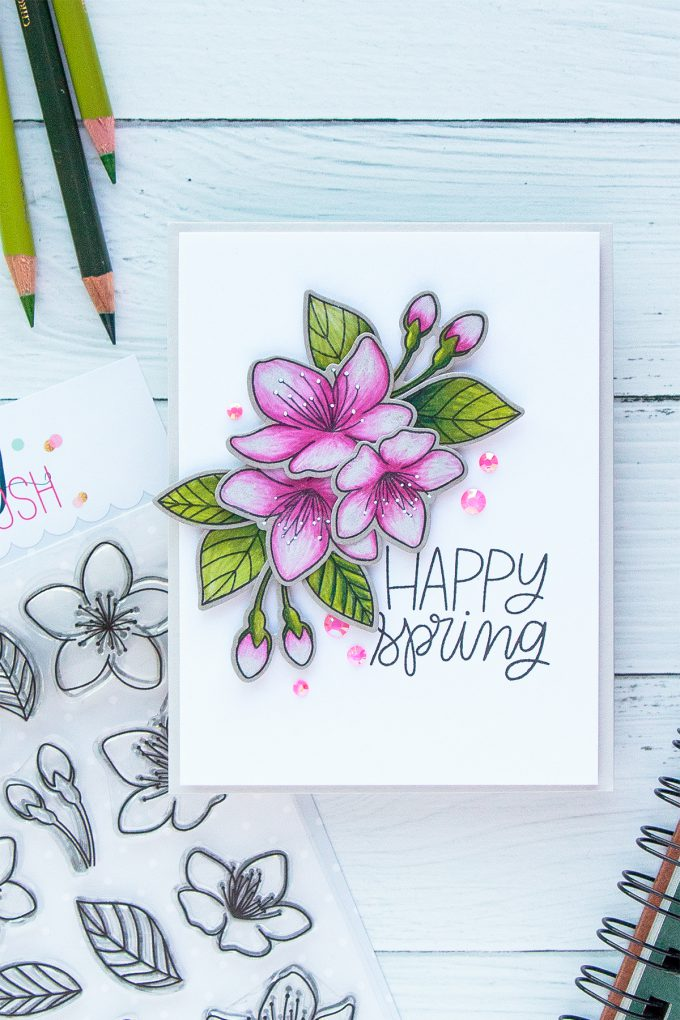 PRetty Pink Posh | Cherry Blossoms & Polychromos Pencils. Video + Blog Hop + Giveaway Handmade card by Yana Smakula #cardmaking #pencilcoloring #polychromos #adultcoloring #prettypinkposh