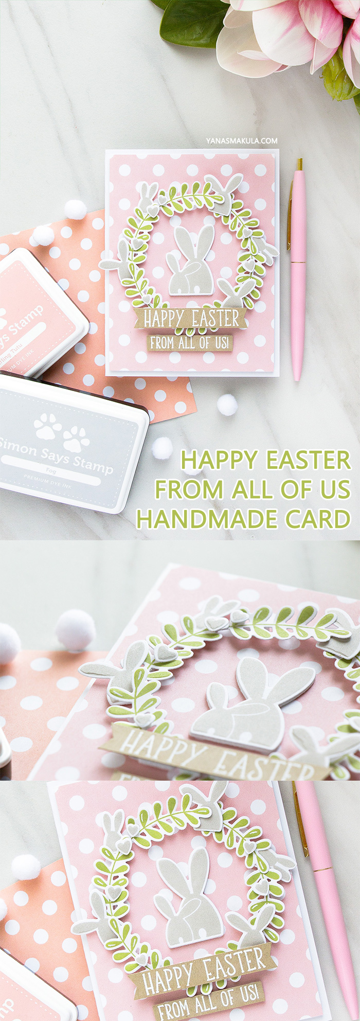 Simon Says Stamp | Happy Easter - Bunny Wreath Card by Yana Smakula using OH BUNNY sss101812, REVERSE POLKA Background sss101813 stamps #simonsaysstamp #simonsaysbestdays #stamping #eastercard #bunnycard