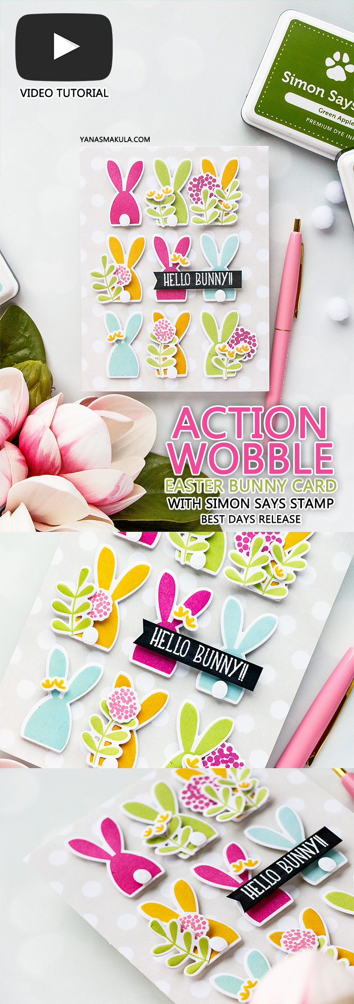 Simon Says Stamp | Action Wobble Happy Easter + Hello Bunny Cards using Oh Bunny sss101812, Reverse Polka Background sss101813 and Bold Flowers sss101811 from Simon Says Stamp #simonsaysstamp #eastercard #springcard #bunnycard #sss #simonsaysbestdays #cardmaking #stamping #diecutting