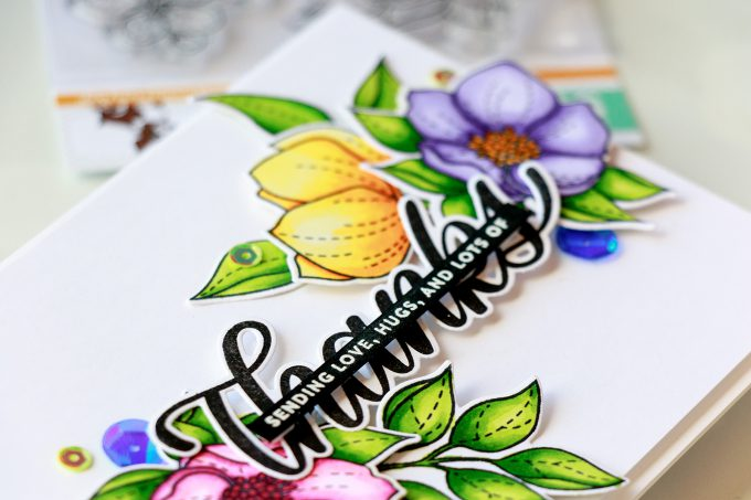 Simon Says Stamp | Sending Love, Hugs and Lots of Thanks card by Yana Smakula using Even More Spring Flowers and Big Thanks Words stamp sets #simonsaysstamp #stamping #cardmaking #handmadecard #thankyoucard