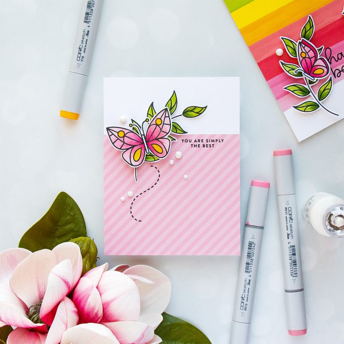 Simon Says Stamp | April 2018 Card Kit - Colorful Butterfly Cards. Video. Handmade cards by Yana Smakula #cardmaking #stamping #handmadecard #springcard #butterflycard