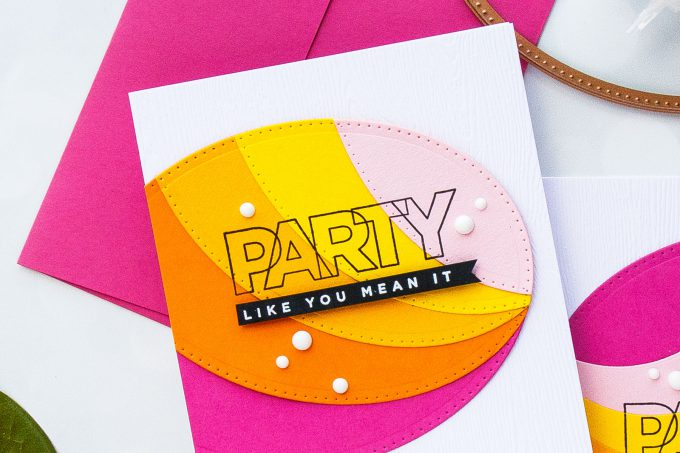Spellbinders | Colorful Cards with Basic Shape Dies. Video. Blog Hop + Giveaway. Party Like You Mean It cards by Yana Smakula for Spellbinders using Nestabilities Scored and Pierced Ovals Dies S4-906 and Cz Design Clear Stamps Birthday Palooza CZ12 #spellbinders #cardmaking #diecutting #handmadecard #cardmakingvideo #cleanandsimple