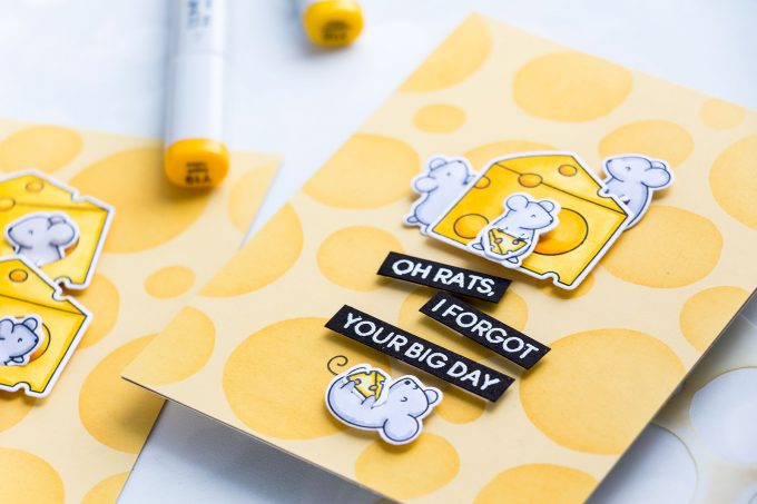 Heffy Doodle | Cheesy Cards featuring Squeakheart Stamp Set. Video by Yana Smakula #stamping #cardmaking #cheesecard #funnycard #punnycard #handmadecard