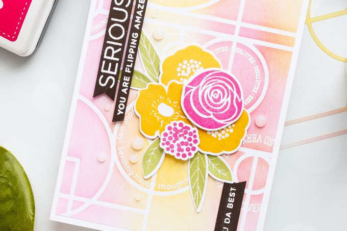 Simon Says Stamp | Geometric Background & Florals Card by Yana Smakula using Line Dance stencil ssst121412, BOLD FLOWERS sss101811 and EMPHATIC cz16 stamp sets #stamping #cardmaking #handmadecard #simonsaysstamp #simonsaysbestdays