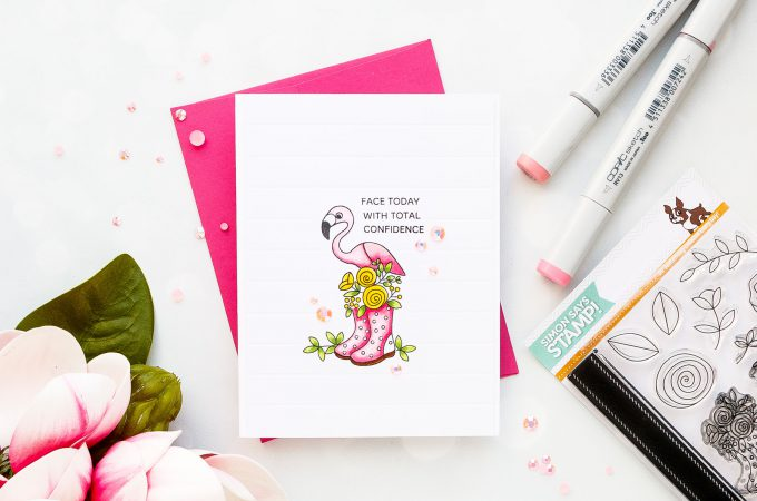 Simon Says Stamp | Floral Flamingo Card - Face Today With Confidence. Photo Tutorial by Yana Smakula #simonsatsstamp #stamping #cardmaking #handmadecard