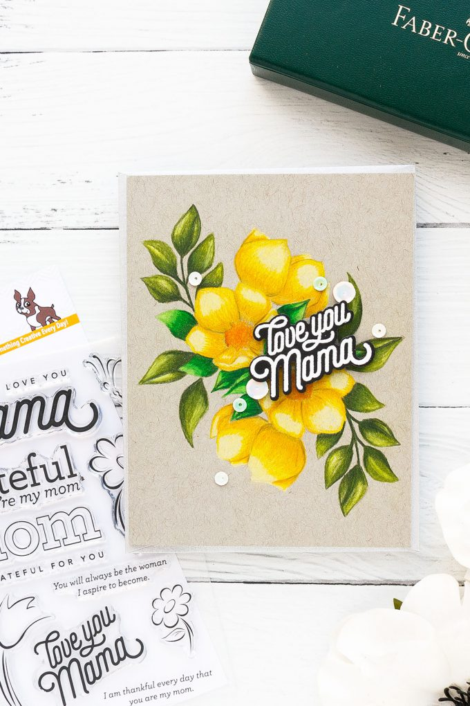 Simon Says Stamp | Mirror Floral Arrangement + Polychromos Coloring on Toned Gray Paper. Video by Yana Smakula #cardmaking #polychromos #pencilcoloring #adultcoloring #simonsaysstamp #stamping #nolinecoloring