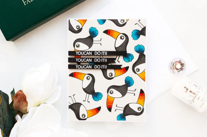 Simon Says Stamp   Toucan Do It! Pencil Colored Toucan Card. Photo Tutorial by Yana Smakula using ENCOURAGING ANIMALS SSS101747 stamp set #simonsaysstamp #sss #stamping #encouragingcard #polychromos #adultcoloring #stampedpattern