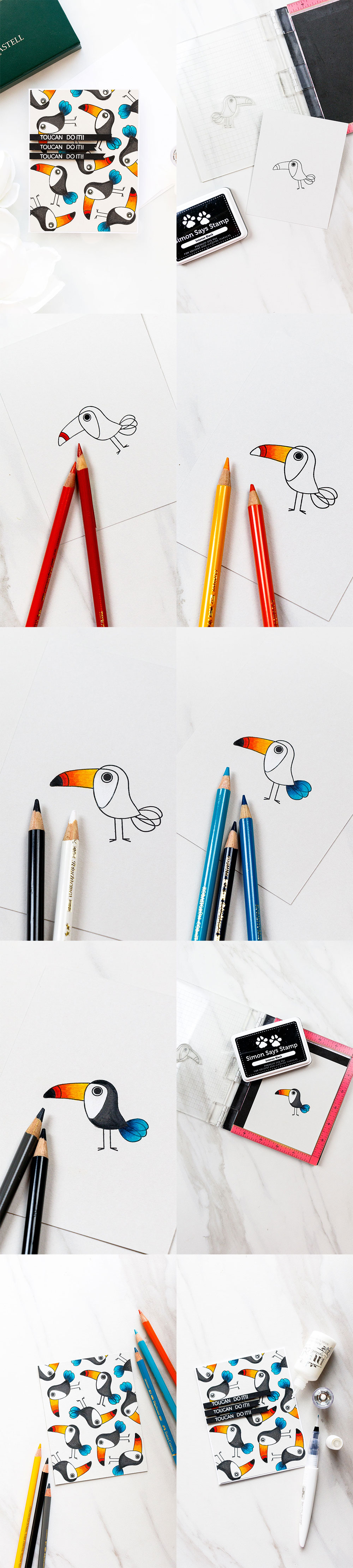 Simon Says Stamp | Toucan Do It! Pencil Colored Toucan Card. Photo Tutorial by Yana Smakula using ENCOURAGING ANIMALS SSS101747 stamp set #simonsaysstamp #sss #stamping #encouragingcard #polychromos #adultcoloring #stampedpattern