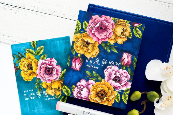 Simon Says Stamp | One Layer Floral Copic Colored Cards. Yippee For Yana Series. Video #cardmakingvideo #stamping #handmadecard #copiccoloring #adultcoloring
