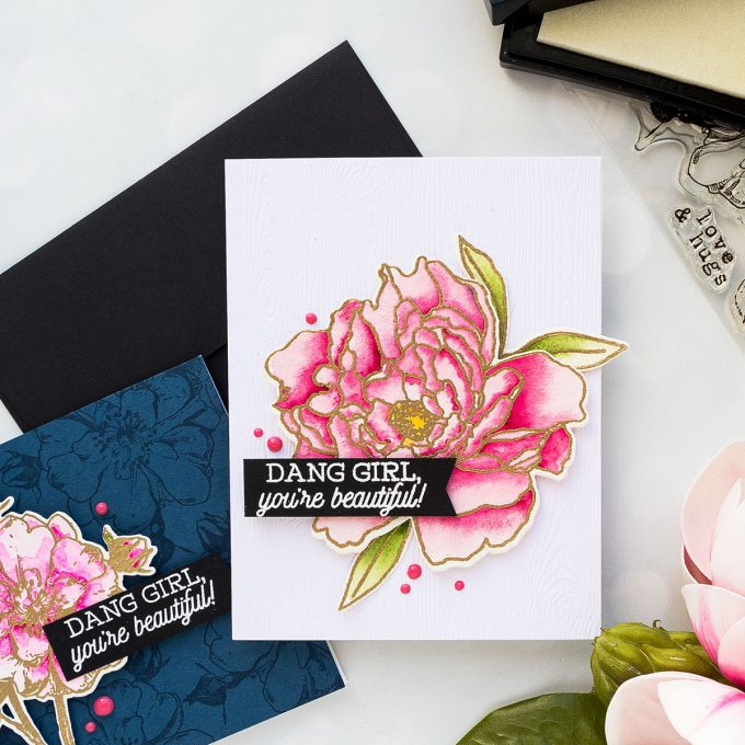 Hero Arts | Monochromatic Floral Cards (Almost No Coloring!) by Yana Smakula. Video tutorial. #heroarts #heroflorals #cardmaking #monochromaticcards #stamping