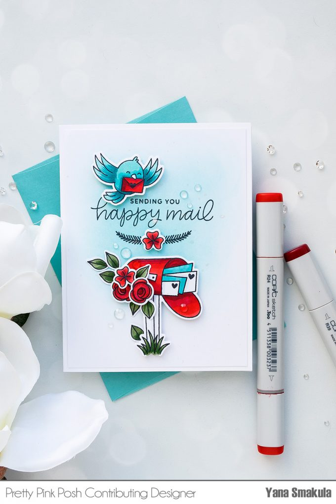 Pretty Pink Posh   Seasonal Happy Mail Cards by Yana Smakula using Happy Mail Stamp Set. Video tutorial. #stamping #handmadecard #happymail #copiccoloring #adultcoloring #Ilovetomakecards