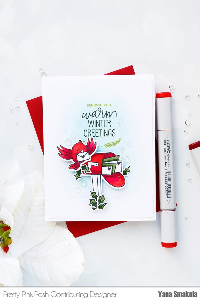 Pretty Pink Posh | Seasonal Happy Mail Cards by Yana Smakula using Happy Mail Stamp Set. Video tutorial. #stamping #handmadecard #happymail #copiccoloring #adultcoloring #Ilovetomakecards