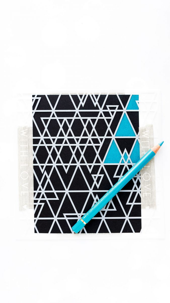 Simon Says Stamp | Colored Pencils + Stencil. Abstract Triangles background stencil and Polychromos pencils card by Yana Smakula