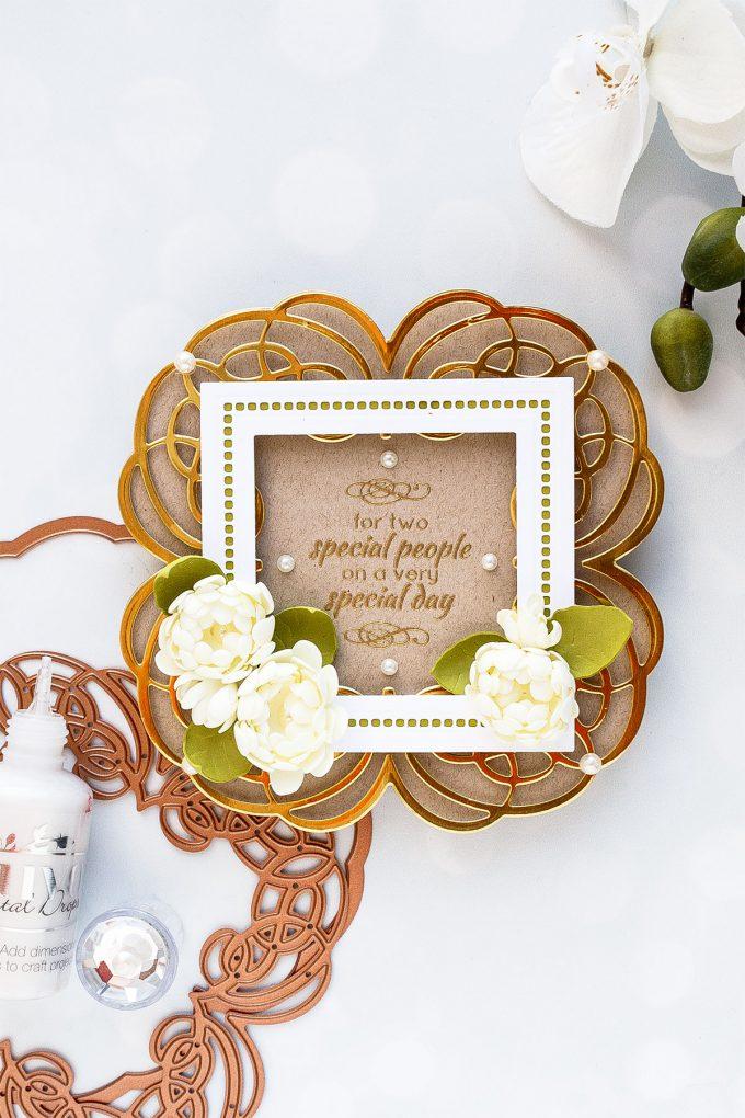 Spellbinders | Shaped Wedding Card with Foamiran Flowers by Yana Smakula #spellbinders #diecutting #neverstopmaking #handmadecard #weddingcard #amazingpapergrace