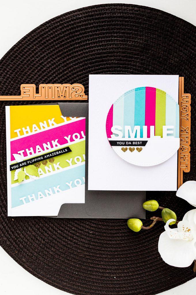 Spellbinders | On The Edge Word Dies. Colorful Cards by Yana Smakula - Small Die Of The Month Club May 2018. Video. #spellbinders #diecutting #neverstopmaking #handmadecards #cardmakingvideo