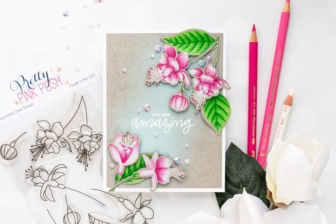 Pretty Pink Posh | Pencil Colored Fuchsias by Yana Smakula. Video tutorial. #cardmaking #prettypinkposh #polychromos #stamping