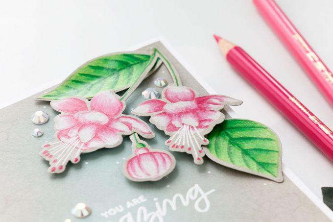 Pretty Pink Posh | Pencil Colored Fuchsias by Yana Smakula. Video tutorial. #cardmaking #prettypinkposh #polychromos #stamping