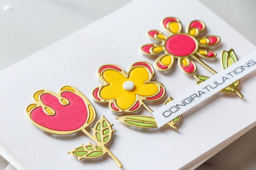 Spellbinders | Clean & Simple Flower Cards with Inlay Die Cutting by Yana Smakula #cardmaking #diecutting #handmadecard #neverstopmaking
