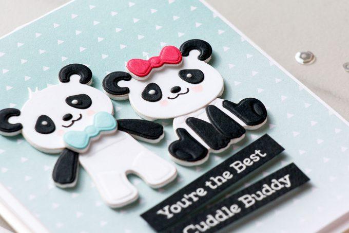 Spellbinders | Clean & Simple Cards with Die D-Lites - You're The Best Cuddle Buddy featuring Build A Panda dies. #cardmaking #diecutting #handmadecard #neverstopmaking