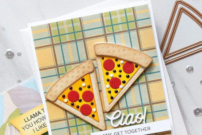 Spellbinders | Clean & Simple Cards with Die D-Lites - Lets Get Together Pizza Card featuring Party Food dies. #cardmaking #diecutting #handmadecard #neverstopmaking