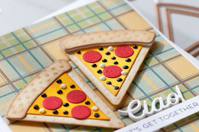 Spellbinders   Clean & Simple Cards with Die D-Lites - Lets Get Together Pizza Card featuring Party Food dies. #cardmaking #diecutting #handmadecard #neverstopmaking