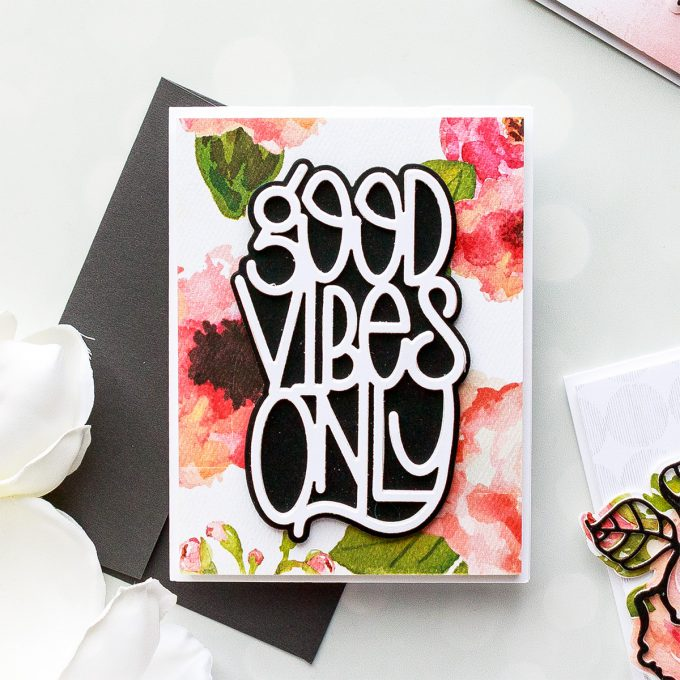 Spellbinders | Good Vibes Only Cards. Simple Die-Cutting Techniques. Handmade card by Yana Smakula #spellbinders #diecutting #handmadecard #neverstopmaking #copiccoloring #adultcoloring S4-918 Shapeabilities Good Vibes Only Etched Dies Good Vibes Only Collection by Stephanie Low
