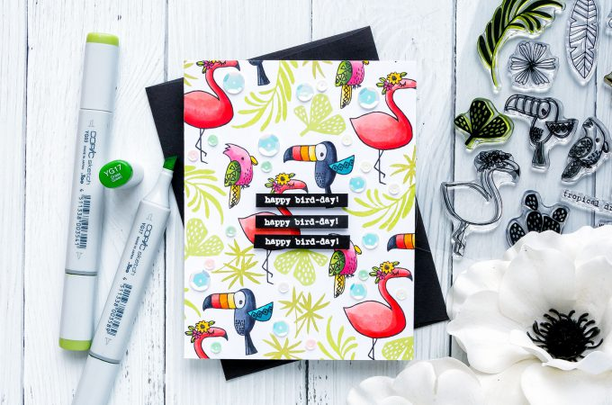 Flora & Fauna | Happy Bird-Day Card featuring Tropical Vibes stamp set. Photo Tutorial by Yana Smakula #stamping #patternstamping #birthdaycard #cardmaking #floraandfaunaclear