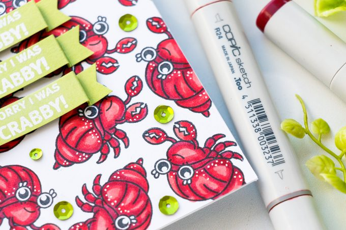 Hero Arts June 2018 MY Monthly Hero Kit #mymonthlyhero Add On Cards. Sorry I Was Crabby Card by Yana Smakula using Beach Messages stamp set. Crab pattern. #stamping #heroarts #cardmaking #summercard #crabpattern #yanasmakula