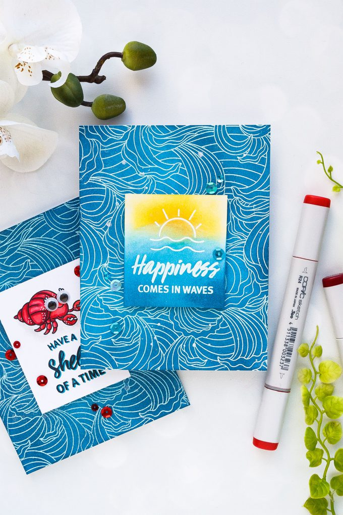 Hero Arts June 2018 MY Monthly Hero Kit #mymonthlyhero Add On Cards. Happiness Comes in Waves card by Yana Smakula using Abstract Waves background. Ink summer ocean background card. #stamping #heroarts #cardmaking #summercard #oceancard #yanasmakula