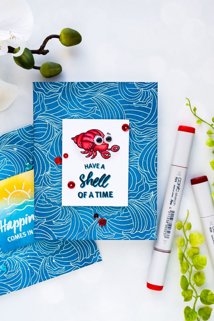 Hero Arts June 2018 MY Monthly Hero Kit #mymonthlyhero Add On Cards. Have a Shell Of A Time card by Yana Smakula using Abstract Waves background. Ink summer ocean background card. #stamping #heroarts #cardmaking #summercard #oceancard #yanasmakula