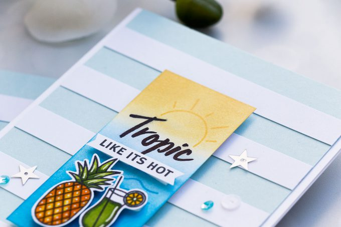 Hero Arts June 2018 MY Monthly Hero Kit #mymonthlyhero Add On Cards. Tropic Like It's Hot card by Yana Smakula using Beach Messages stamp set. Summer drinks & pineapple card. #stamping #heroarts #cardmaking #summercard #yanasmakula