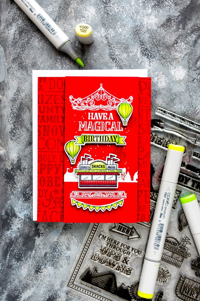 Hero Arts | July 2018 My Monthly Hero - Country Fair Cards. You make the world go round card. Video tutorial. #cardmaking #mymonthlyhero #stamping #copiccoloring
