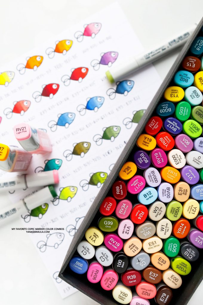 My Favorite Copic Color Combos (by Yana Smakula) - Copic Marker Colors for Beginners. Copic markers color chart.  #copicmarkers #copicmarkersforbeginners #copicmarkerschart #copicmarkerscolorcombos #copiccombos #adultcoloring