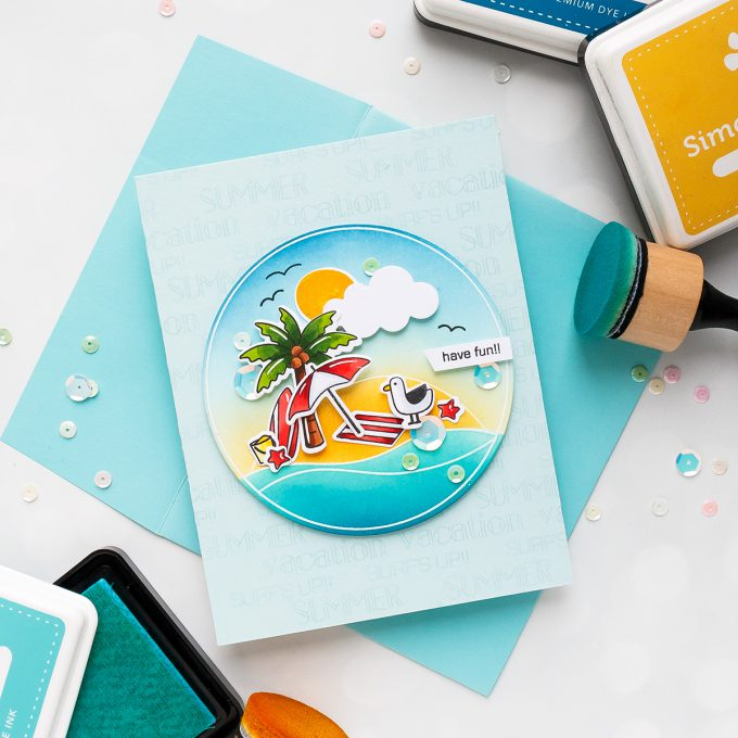 Simon Says Stamp | Good Vibes Release. Copic Colored & Ink Blended Summer Vacation Card. Video by Yana Smakula #stamping #sssgoodvibes #simonsaysstamp