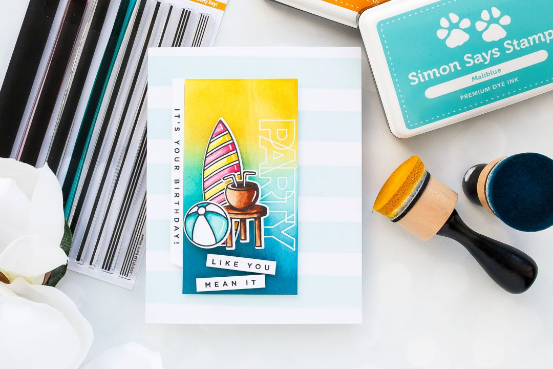 Simon Says Stamp | Summer Birthday Card. Party - It's Your Birthday! Card by Yana Smakula #cardmaking #stamping #handmadecard #copiccoloring #birthdaycard #summerbirthday #adultcoloring