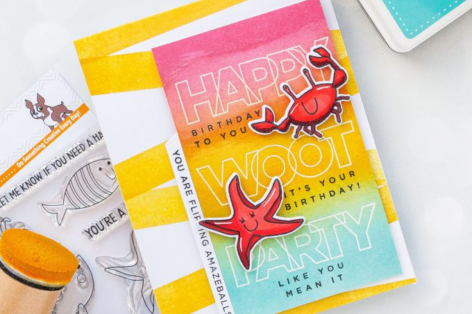 Simon Says Stamp | Summer Birthday Card Idea #2. You Are Flipping Amazeballs card by Yana Smakula #ssssendingsunshine #simonsaysstamp #stamping #summercard #summerbirthday #birthdaycard #copiccoloring