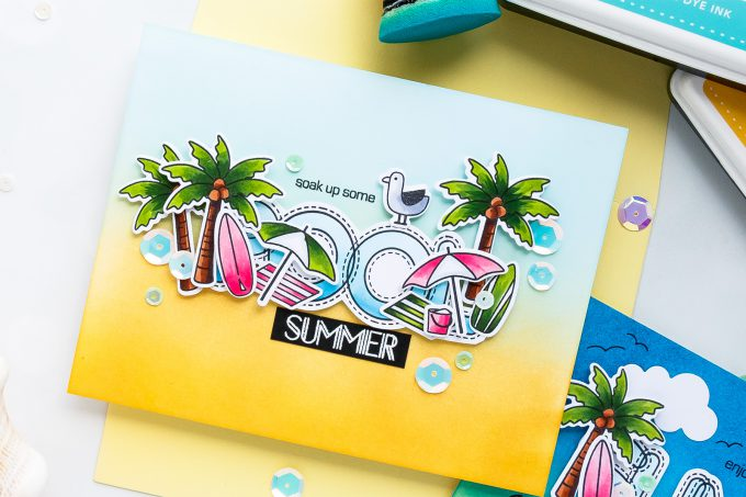 Simon Says Stamp | Soak Up Some Summer! Yippee For Yana Series. Video Handmade card by Yana Smakula #stamping #diecutting #cardmaking #handmadecard #simonsaysstamp #copicoloring #inkblending