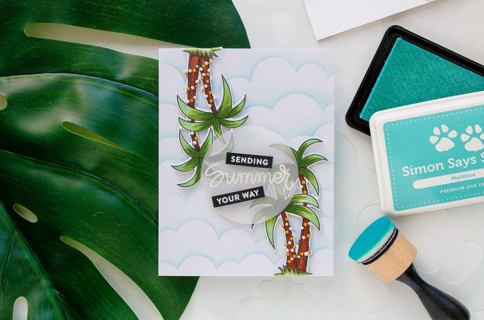 Simon Says Stamp | Palm Trees and Blue Skies Summer Card. Sending Summer Sunshine. Yippee For Yana Series. Video tutorial by Yana Smakula. Simon Says Stamp Clouds For Days stencil; Simon Says stamp Four Seasons Sentiments; Simon Says Stamp Warm Christmas Wishes stamp set. #cardmaking #handmadecard #cleanandsimplecardmaking #stamping #simonsaysstamp