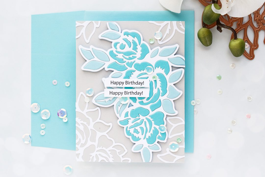 Spellbinders | Inlay Die Cutting with Double Sided Sticky Sheets. Video (Large Die Of The Month - June) Handmade card by Yana Smakula #spellbinders #neverstopmaking #spellbindersclubkits #diecutting #handmadecard #cardmaking