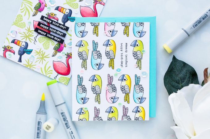 Flora & Fauna | Linear Pattern Stamping. Bird-Day Card. Photo Tutorial by Yana Smakula. Happy Birthday Card using Tropical Vibes stamp set. Parrot Pattern. #stamping #patternstamping #handmade #cardmaking