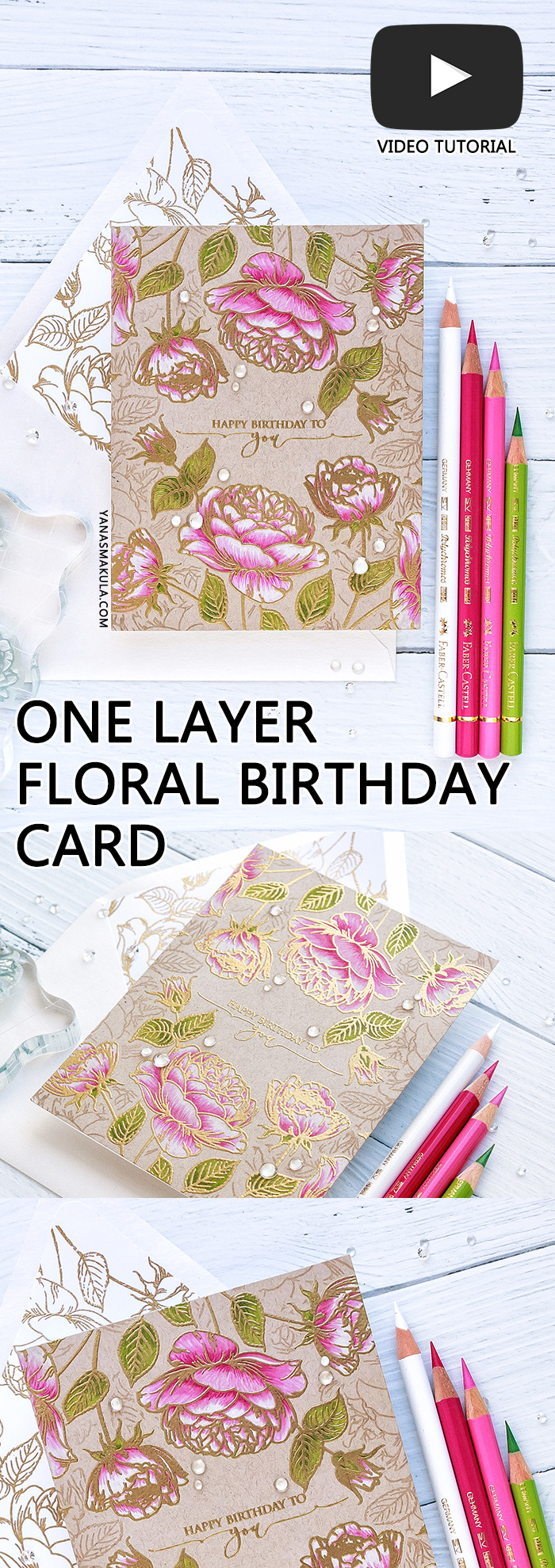Gina K Designs | One Layer Floral Birthday Card featuring Tropical Blooms and Scripty Sayins One stamps. Video tutorial by Yana Smakula #stamping #cardmaking #ginakdesigns #handmadecard #birthdaycard